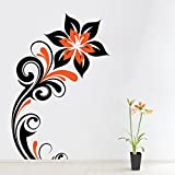 Sky Solution Decor Home Design Wall Sticker For Swirly Flowers Wall Sticker Large Size - 18*27 (Inch) - Multicolor