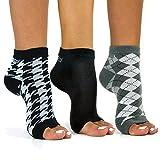 Freetoes Toeless Socks- 3 Pairs.1-Black, 1-Argyle, 1 Houndstooth