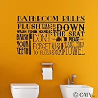 Bathroom Rules Subway Collage vinyl lettering decal home decor wall art saying (Black, 12.5x22) by Wall Sayings Vinyl Lettering