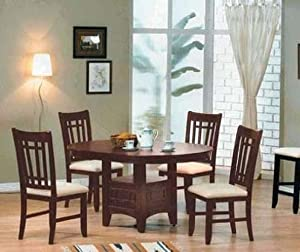 5pc Dining Table & Chairs Set Dark Walnut Finish