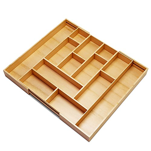 Silverware kitchen drawer organizer expandable bamboo for Utensil organizer for small drawers