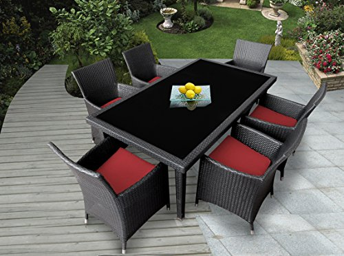 Genuine Ohana Outdoor Patio Wicker Furniture 7pc All Weather Dining Set with Free Patio Cover (Red) image