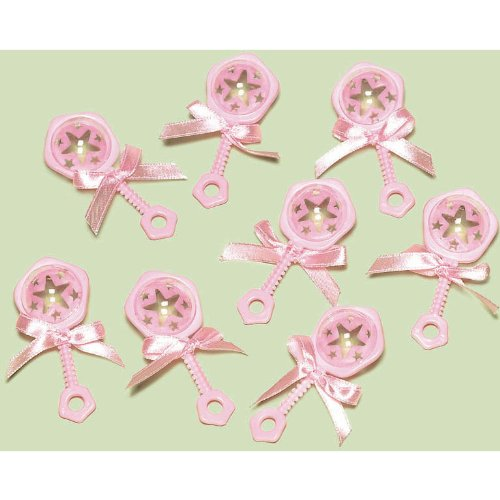 Baby Rattle Favor Charms Pink