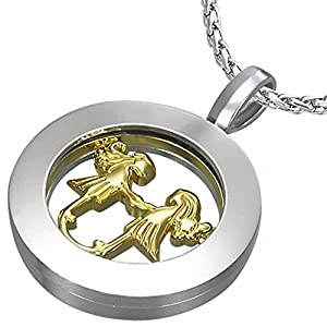 Fashion Alloy 2-tone Gemini Zodiac Sign Inner-roller Circle Pendant