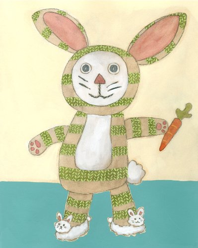 Green Frog Art Wall Decor, Lillian's Bunny Lovie V - 1