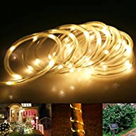 LE® 16.5ft LED Solar Rope Lights, Waterproof, 50 LEDs, 1.2 V, Warm White, Portable, with Light…