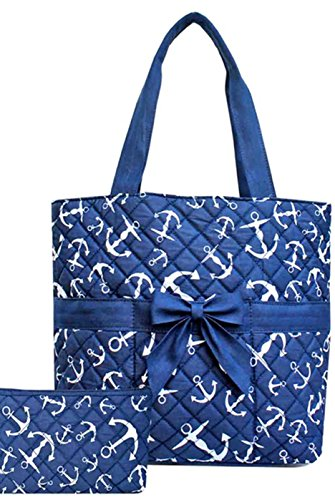 Anchor Nautical 3 Pc Diaper Tote Bag Set w/ Changing Pad Blue - 1