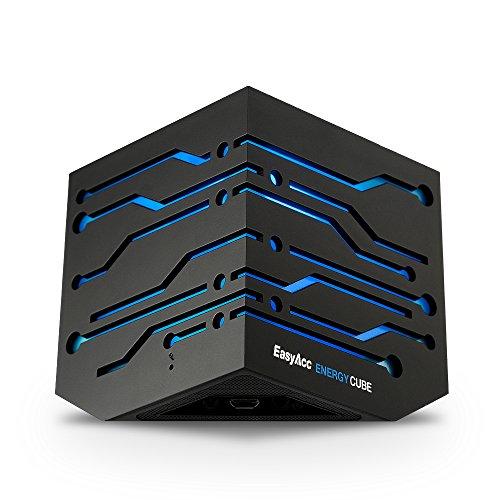 EasyAcc-Energie-Cube-Bluetooth-Lautsprecher-mit-blauer-LED-Mini-Wireless-boxen-mit-Mikrofon-Schwarz