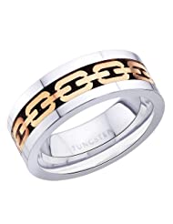 8 mm Peora Rose Gold Tone Chain Link Inlay, Flat Edge Tungsten Carbide Men's Ring PTR688