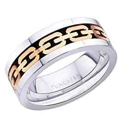 Peora 8 mm Valentine Rose Gold Tone Chain Link Inlay, Flat Edge Tungsten Carbide Ring for Men PTR688-8