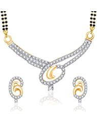 VK Jewels Love Lock Gold And Rhodium Plated Mangalsutra Pendant Set With Earrings For Women-MP1169G [VKMP1169G]