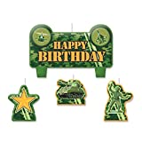 """Party Time Tanks and Soldiers Molded Mini Character Birthday Candle Set, Pack of 4, Camouflage , 2.25"""" x 3.25"""" Wax"""
