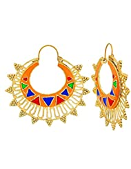 The Jewelbox Designer Orange Meena Large Antique Gold Plated Chaand Bali Earring For Women