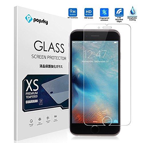 PopSky™ iPhone 5SE 強化ガラスフィルム採用0.26mm 強化ガラス ラウンドカッティング 硬度9H ラウンドエッジ加工 耐指紋 撥油性 高透過率液晶保護フィルム (iPhone 5SE, 強化ガラスフィルム)