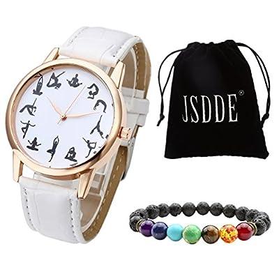 JSDDE Uhren Set Fashion 12 Schwarz Yoga Muster Armbanduhr + Lava 7 Chakras Yoga-Armband mit Geschenk Samtbeutel,Weiß