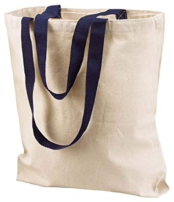Liberty Bags Marianne Cotton Canvas Tote, NATURAL/NAVY, One Size