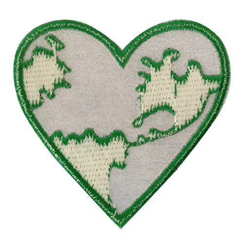 Save the earth heart iron on patches embroidered sporting