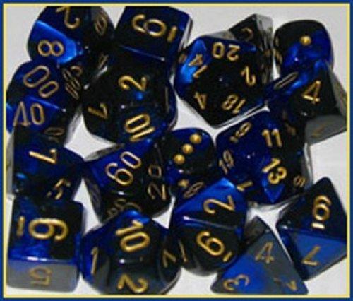 Polyhedral 7-Die Gemini Dice Set: Black & Blue With Gold (D4, D6, D8, D10, D12, D20 & D00)