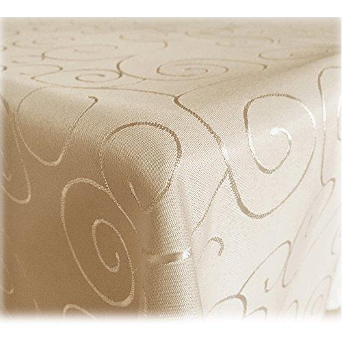 JEMIDI-Tischdecke-Ornamente-Seidenglanz-Edel-Tisch-Decke-Tafeldecke-31-Gren-und-7-Farben-Tischdecke-Bronze-Ornamente-Creme-110x140