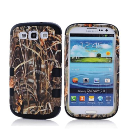 KINGCO 3in1 Straw Grass Camo Hybrid Protective Hard Soft Case Combo for Samsung Galaxy S3 III i9300 Black