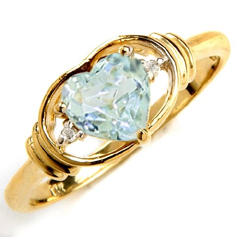 Genuine Heart Aquamarine & Diamond 14k Gold Promise Ring