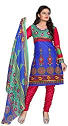 AAINA Women's Poly cotton Unstitched Dress Material (Blue)