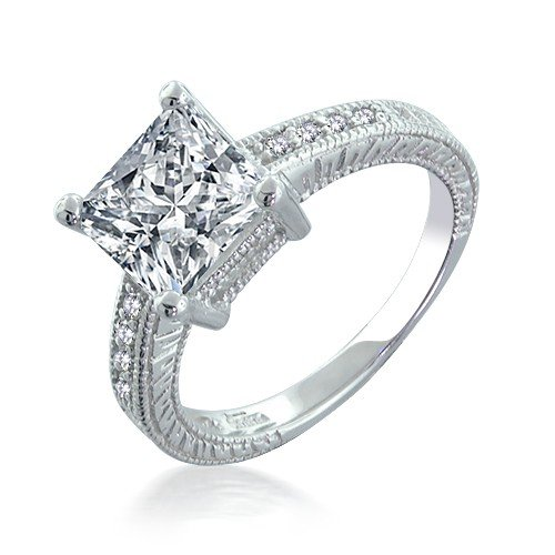 CUSHION CUT MICRO PAVE ENGAGEMENT RINGS