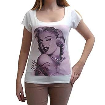Marilyn Monroe B Pink Tshirt Femme célébrité - Blanc, XS