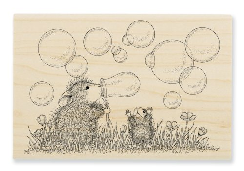 "Stampendous Wooden Handle Rubber Stamp, ""Blowing Bubbles"""