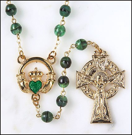 Blessed By Pope Benedict XVI Celtic Irish Claddagh Rosary Made in Italy By Catholic Workers Green Glass Beads