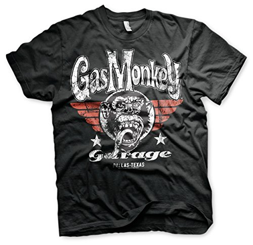 Gas Monkey Garage - High Flying Monkey Pilot T-Shirt Gas scimmia Garage - High Flying scimmia Pilot T-Shirt (Nero) (Grande)