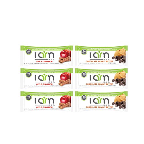 I AM BAR - Variety Protein Bar Bundle - Delicious, Low Carb, and Grass Fed Whey Protein - Includes 3 Apple Cinnamon Bars and 3 Chocolate Peanut Butter protein (Quest Bar Sugar Free compare prices)