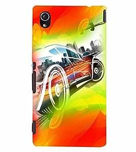PrintVisa Race Car Art Modern Art 3D Hard Polycarbonate Designer Back Case Cover for Sony Xperia M4 Aqua