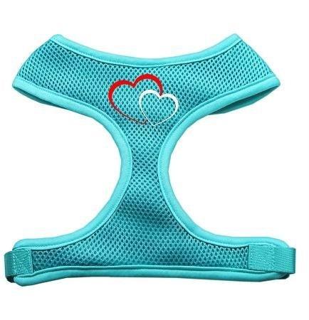 Double Heart Design Soft Mesh Harnesses Aqua Extra Large Double Heart Design Soft Mesh Harnesses Aq