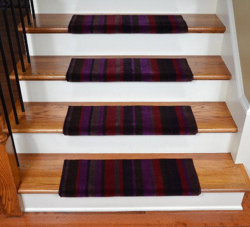 Dean Premium Bullnose Carpet Stair Treads - Tuscan Stripe After Midnight (13) Plus Installation Tape