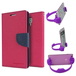 Aart Fancy Diary Card Wallet Flip Case Back Cover For Apple I phone 5 - (Pink) + Flexible Portable Mount Cradle Thumb Ok Stand Holder By Aart store