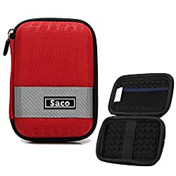 Saco External Hard Disk Hard Case Pouch Cover Bag for HGST Touro Mobile 2.5 inch 1 TB External Hard Disk - Red