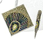 Beaded Notebook and Pen - Silver