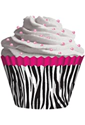 Cupcake Creations Pink Zebra Cupcake Holders, 2-Inch, 32 Count