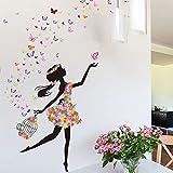 YUFENG Removable DIY PVC Wall Sticker Decor Flower Fairy Princess Butterfly Dancing Girls, Sweet Romance Flower...