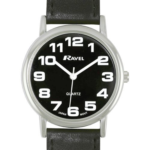 GENTS RAVEL EASY READ BLACK WATCH WITH EXTRA