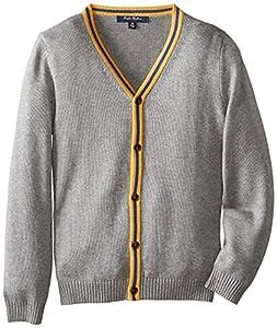 Brooks Brothers Big Boys' Swt Ctnwl Cdg Stpd Plakt Grey, Grey, Large