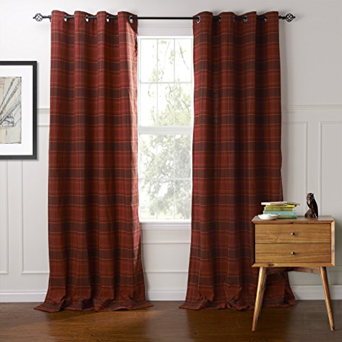 IYUEGOU Classic Country Plaid Jacquard Grommet Top Curtains Draperies With Multi Size Custom 42