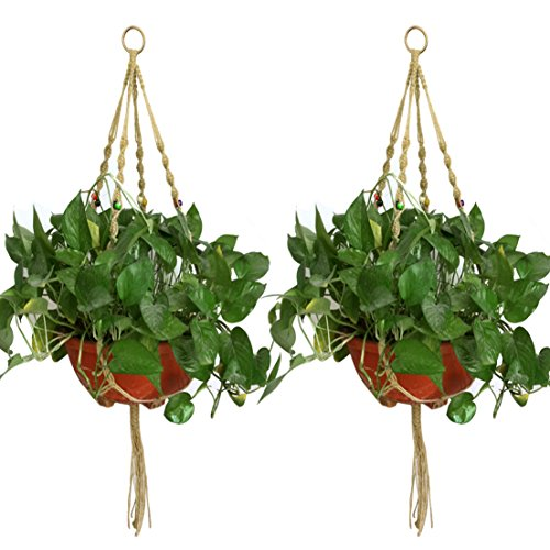 Jmkcoz 2 Pack Plant Hanger Macrame Jute Plant Pot Hanger Plant Holder with 4 Legs 42 Inches for Indoor Outdoor Balcony Ceiling Patio (Freestanding Plant Hanger compare prices)
