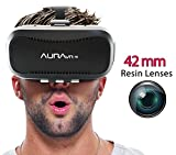 AuraVR PRO VR Headset Glasses/Virtual Reality Gear with 42mm lenses, Individual Lens adjustment , 110 degree FOV inspired by Google Cardboard, Oculus Rift & Samsung Gear for Android & iOS phones