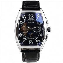 SEWOR Tourbillon Steampunk Men's Automatic Mechanical Wrist Watch Leather Strap Tonneau Dial Big Number Sub Dials Special +Box