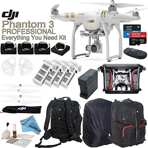DJI Phantom 3 Professional w/ eDigitalUSA Everything You Need Kit - Deluxe Backpack + 4 Filters + 4 Batteries + Charging Hub (Charges 4 batteries at once) + more...