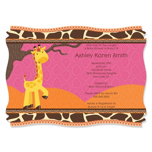 Giraffe Girl - Personalized Baby Shower Invitations front-10634