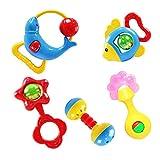 Ninos juguete - SODIAL(R)Regalo de Navidad 5 pcs animal campanas precioso sonajero de desarrollo juguete para ninos bebe
