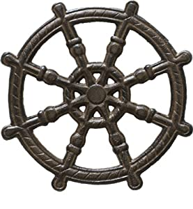 Cast Iron Trivet - Helm (Unique, Hand-crafted, Recycled; for Kitchen; Marine Theme) by Comfify